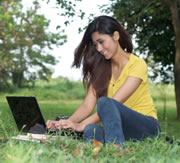 Girl e-learning in field